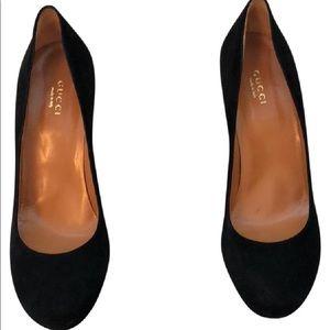 Gucci Nero/Black suede platform heels